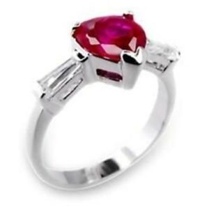 Jewelry - Sterling Silver Ruby Heart Ring Size 4 6 7 8 9 Red